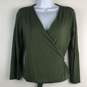 J. Crew Olive Green Knit Wrap Top